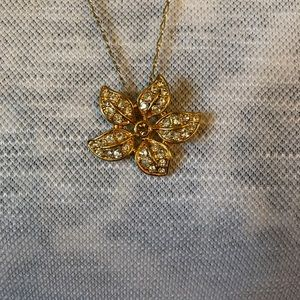 J.Crew Crystal Flower Pendant Necklace